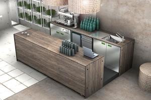 Banco bar + pedana + retrobar QUCINO